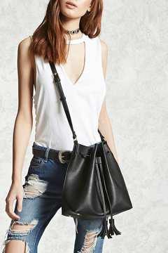 FOREVER 21 Faux Leather Tassel Bucket Bag