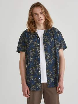 Frank and Oak Short Sleeve Supersoft Camp Collar Hawaiian Print in Dress Blues