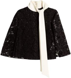 Valentino Tie-neck sheer-lace top