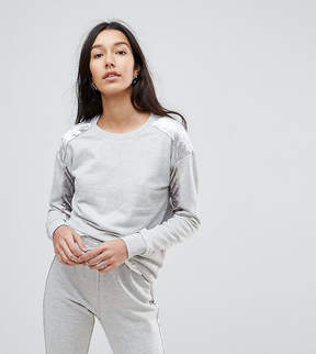 Noisy May Tall Sweatshirt With Crushed Velvet Panel
