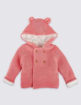 Marks and Spencer Pure Cotton Chunky Knit Hooded Cardigan