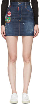 DSQUARED2 Blue Patchwork Denim Miniskirt