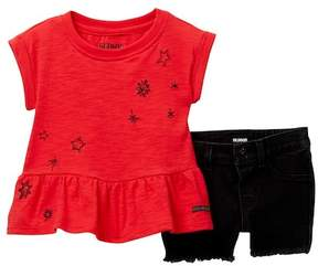Hudson Jersey Heather Embroidered Top & Shorts Set (Baby Girls)