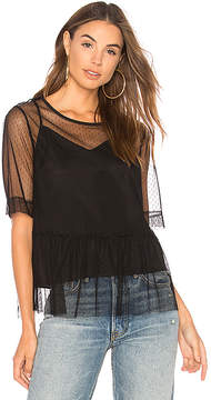 BCBGeneration Mesh Boyfriend Sleeve Top