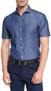 Ermenegildo Zegna Diamond Jacquard Short-Sleeve Chambray Shirt, Blue