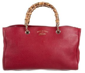 Gucci Bamboo Shopper Leather Tote - RED - STYLE