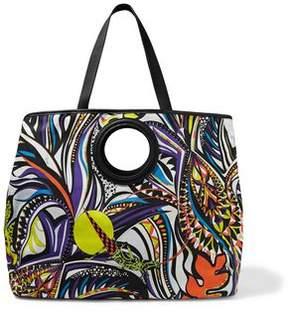 Emilio Pucci Leather-Trimmed Printed Canvas Shoulder Bag