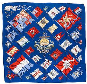 One Kings Lane Vintage HermAs Navy Pavois Flag Scarf - Vintage Lux
