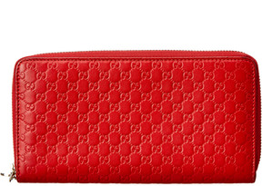 Gucci Red Guccissima Leather Zip Around Wallet - ONE COLOR - STYLE