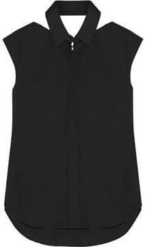 Facetasm Velvet-Trimmed Cutout Cotton-Poplin Shirt