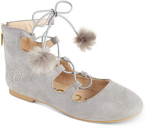 Sam Edelman Felicia Stella Pom Pom Lace-Up Flats, Little Girls (11-3) & Big Girls (3.5-7)