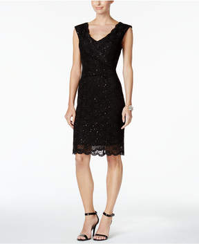 Connected Sequin-Lace Sheath Dress