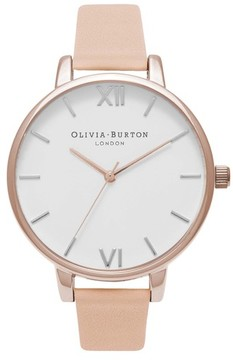 Olivia Burton Women's Big Dial Leather Strap Watch, 38Mm