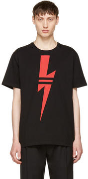 Neil Barrett Black and Red Thunderbolt T-Shirt