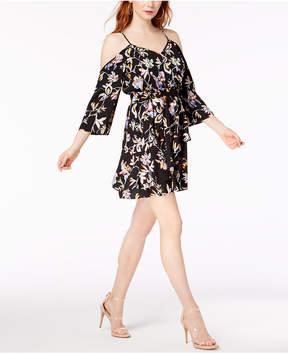 Bar III Cold-Shoulder Printed Dress