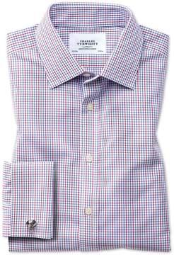 Charles Tyrwhitt Classic Fit Non-Iron Grid Check Multi Cotton Dress Shirt French Cuff Size 15.5/37
