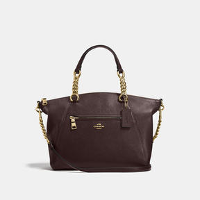 COACH Coach Chain Prairie Satchel In Polished Pebble Leather - LIGHT GOLD/CHESTNUT - STYLE