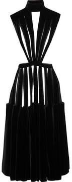 Valentino Cutout Velvet Midi Dress - Black