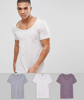 Asos DESIGN deep scoop neck t-shirt 3 pack save