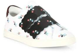 Fendi Biscuit Floral Leather Grip-Tape Sneakers