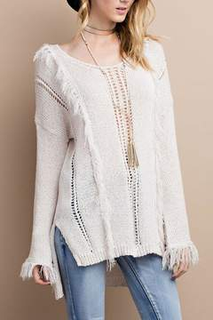 Easel Knitted Fringe Sweater