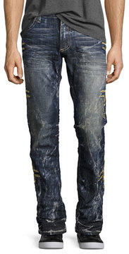 Robin's Jeans Embroidered Denim Straight-Leg Jeans, Dark Blue
