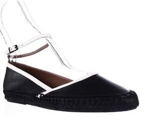 Giorgio Armani Xis010 Ankle Strap Espadrille Flats, Nero Blanco.