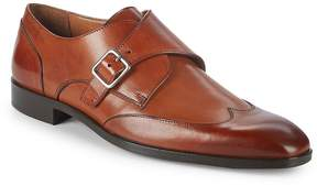 Matteo Massimo Men's Leather Wingtip Monk Strap Shoes