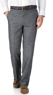 Charles Tyrwhitt Blue Chambray Classic Fit Cotton Tailored Pants Size W38 L32