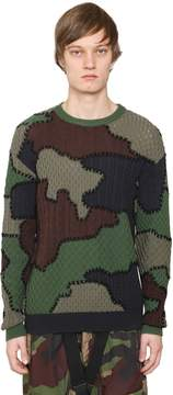 Moschino Camouflage Intarsia Virgin Wool Sweater