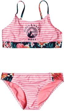 Roxy Girls' Waves Crop Bra Swimwear Set (Little Kid) 8167499