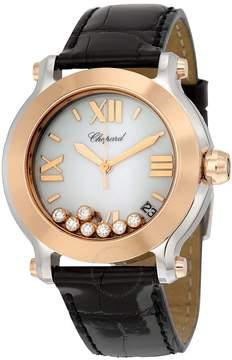Chopard Happy Sport II White Diamond Dial Black Leather Ladies Watch