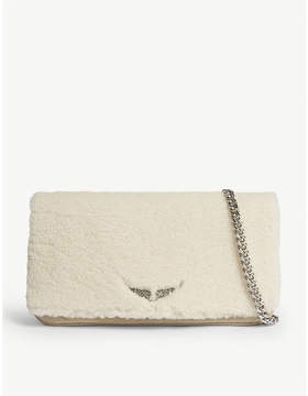 Zadig & Voltaire Rock shearling clutch bag