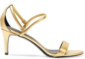 Sandro Metallic Textured-Leather Sandals