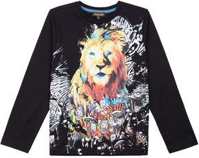 Roberto Cavalli Lion Face Print Long Sleeve T-Shirt