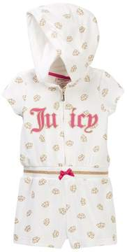 Juicy Couture Vanilla Glitter Crown Print Hooded Terry Romper (Toddler Girls)