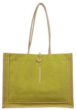 Cathy's Concepts 'Newport' Monogrammed Jute Tote - Green