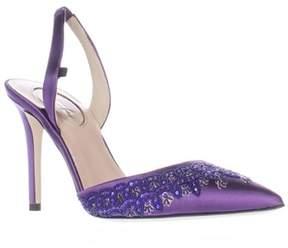 Sarah Jessica Parker Josephine Sling-back Pointed Toe Heels, Purple Satin.