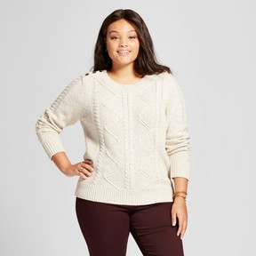 Ava & Viv Women's Plus Size Cable Pullover with Button Detail