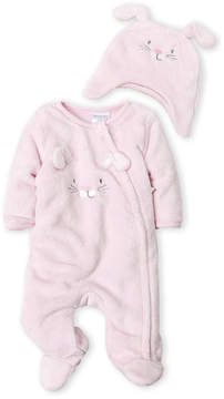 Absorba Newborn Girls) Two-Piece Embroidered Bunny Footie & Hat Set