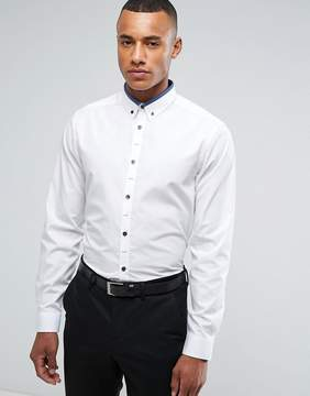 New Look Regular Fit Shirt With Navy Contrast Collar In White