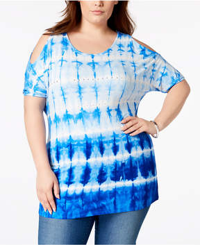 Belldini Plus Size Tie-Dyed Cold-Shoulder Tunic