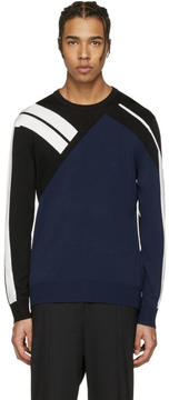 Neil Barrett Navy Panelled Modernist Pullover