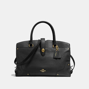 COACH Coach Mercer Satchel In Grain Leather - LIGHT GOLD/BLACK - STYLE