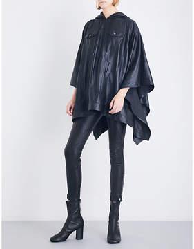 A.F.Vandevorst Ladies Black Casual Waterfall-Hem Hooded Leather Poncho