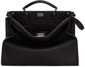 Fendi Black Embossed Signature Peekaboo Briefcase
