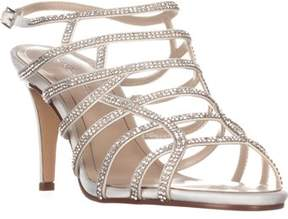 Caparros Harmonica Embellished Caged Evening Sandals, Ivory Satin.