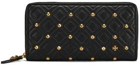 Tory Burch FLEMING STUD ZIP CONTINENTAL WALLET - BLACK - STYLE