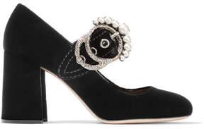 Miu Miu Embellished Velvet Pumps - Black