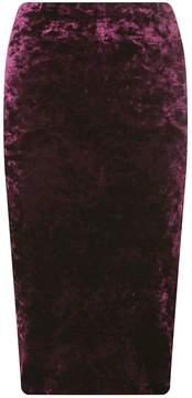Dorothy Perkins Burgundy Crushed Velvet Pencil Skirt